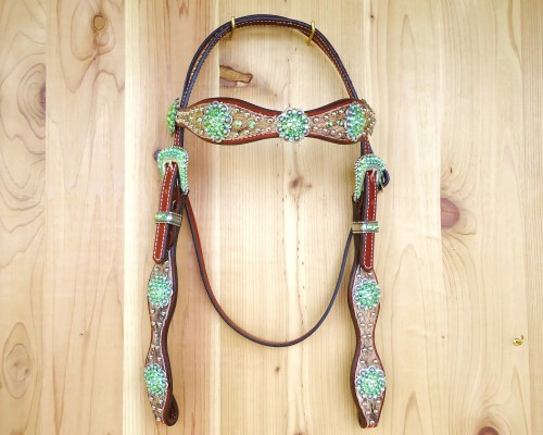 Lt brindle hair on headstall with berry conchos and Peridot rhinestones