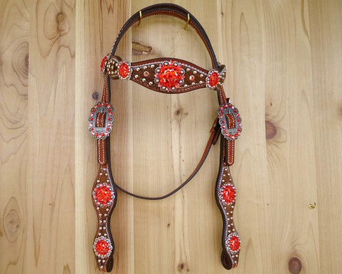 Roan hair on crystal headstall with berry conchos and Hyacinth rhinestones