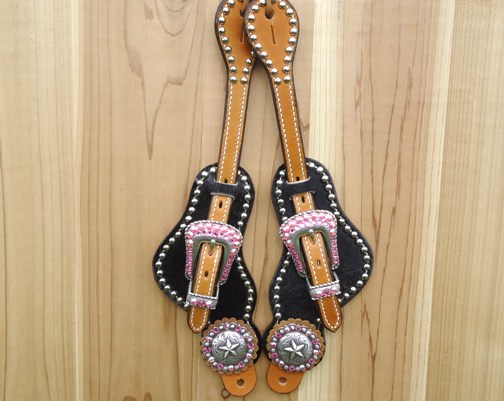 Black hair on spur straps with Star conchos and Rose AB stones