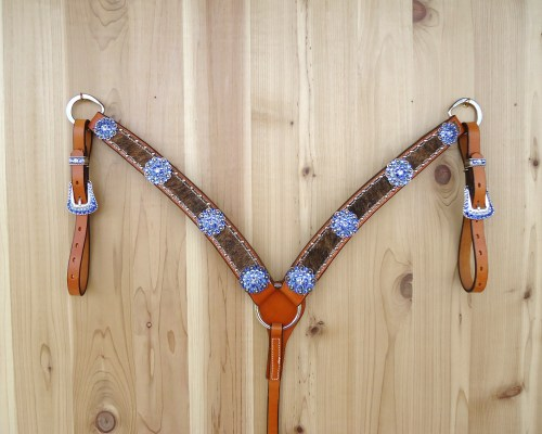 Hair on crystal barrel racing breast collar with berry conchos and Sapphire rhinestones