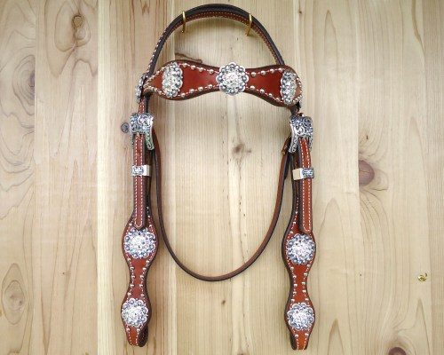 Two scallop crystal headstall with berry conchos and crystal with Amethyst AB rhinestones