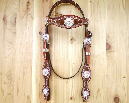 Roan hair on crystal headstall with rope edge conchos and Crystal AB rhinestones
