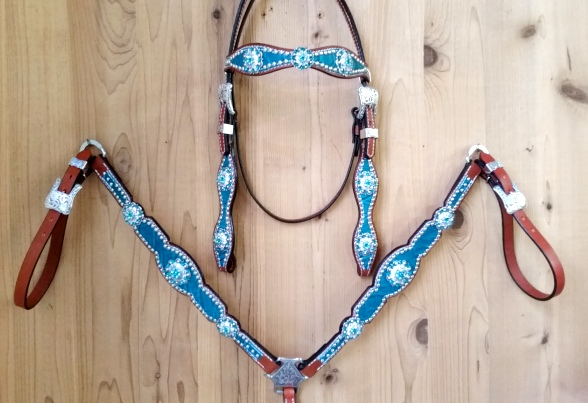 Bling leather tack set with teal elephant hide and blue zircon swarovski rhinestones