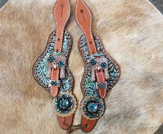 Western tooled bling spur straps with copper hardware and Blue Zircon and smoke swarovski rhinestones