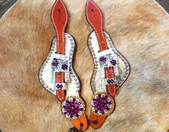 Hair Bling spur straps on  lt grey brindle hide with Volcano and fuchsia swarovski rhinestones