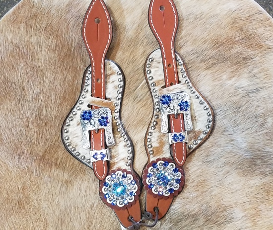 Hair on bling spur straps with speckled hide and sapphire swarovski stones