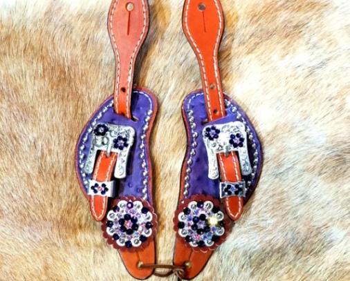 Small hair on purple ostrich spur straps with purple velvet swarovski rhinestones