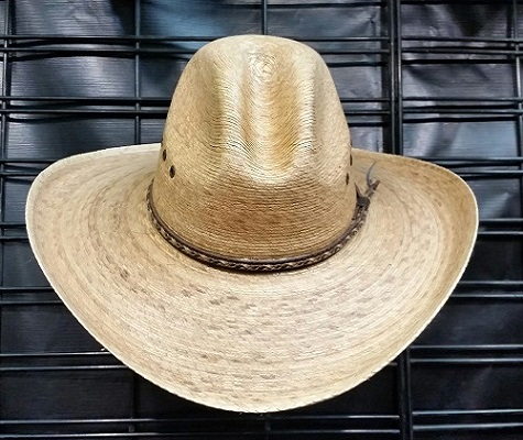 Burnt palm gus hat with brown concho hat band