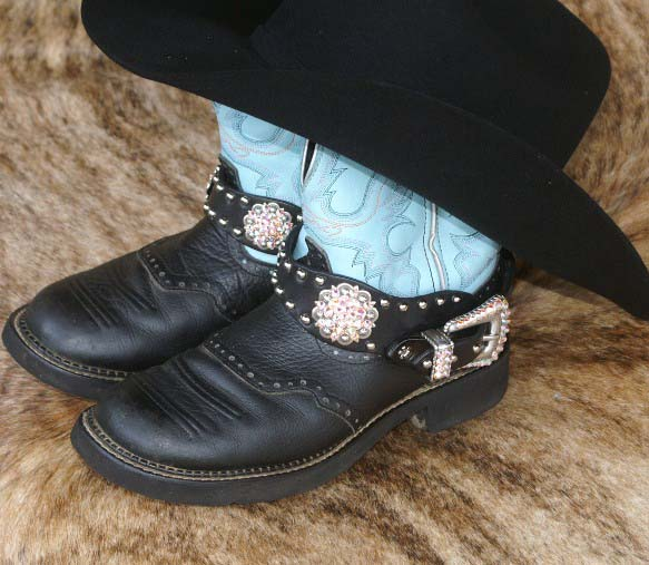 Black leather western boot bling with crystal conchos and buckle set accented with AB crystals
