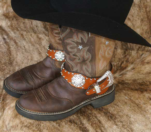 Leather western boot bling with crystal conchos and buckle set
