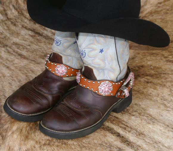Leather western boot bling with crystal conchos and buckle set accented with Rose crystals