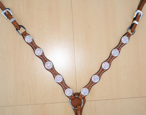Scallop breast collar with rope conchos and Clear AB Swarovski rhinestones