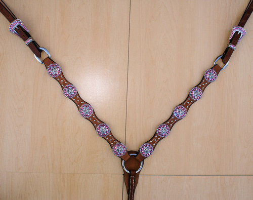 Scallop breast collar with star conchos and Rose and Rose AB Swarovski rhinestones