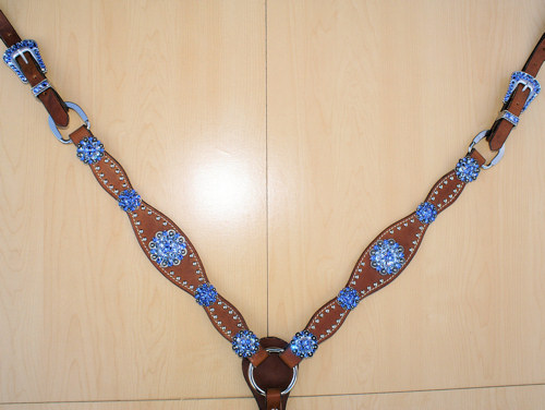 Leather breast collar with berry conchos with Sapphire and Lt Sapphire Swarovski rhinestones