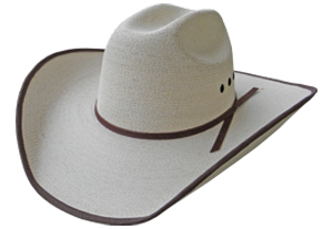 Palm leaf cattleman bull rider hat with brown bound edging, eyelets, and band