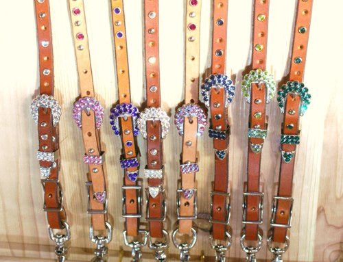 "Leather 5/8"" breast collar strap with Swarovski rhinestones and silver spots"