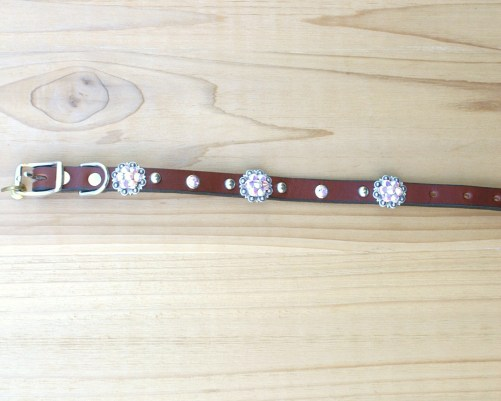 "1/2"" wide x 10"" length leather dog collar with Crystal AB Swarovski berry conchos, rimsets, and domes"