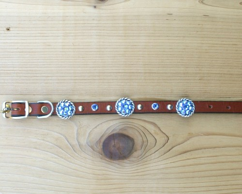 "1/2"" wide x 10"" length leather dog collar with Sapphire and Sapphire AB Swarovski rope conchos, rimsets, and domes"