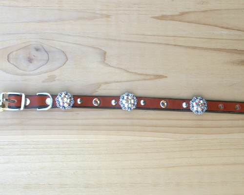 "1/2"" wide x 10"" length leather dog collar with Lt Colorado Topaz and Lt Colorado Topaz AB Swarovski berry conchos, rimsets, and domes"