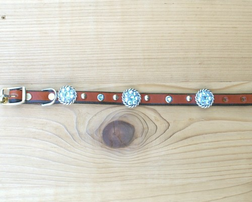 "1/2"" wide x 10"" length leather dog collar with Aquamarine and Aquamarine AB Swarovski rope conchos, rimsets, and domes"