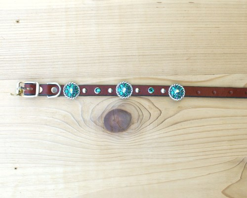 "1/2"" wide x 10"" length leather dog collar with Emerald and Emerald AB Swarovski rope conchos, rimsets, and domes"