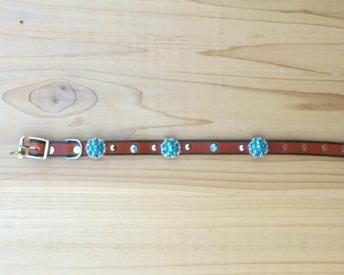 """1/2"""" wide x 10"""" length leather dog collar with Blue Zircon and Blue Zircon AB Swarovski berry conchos, rimsets, and domes"""