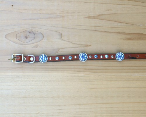 "1/2"" wide x 12"" length leather dog collar with Sapphire and Sapphire AB Swarovski rope conchos, rimsets, and domes"