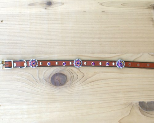 "1/2"" wide x 12"" length leather dog collar with Volcano Swarovski berry conchos, rimsets, and domes"