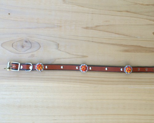 "1/2"" wide x 12"" length leather dog collar with Fire Opal Swarovski berry conchos, rimsets, and domes"