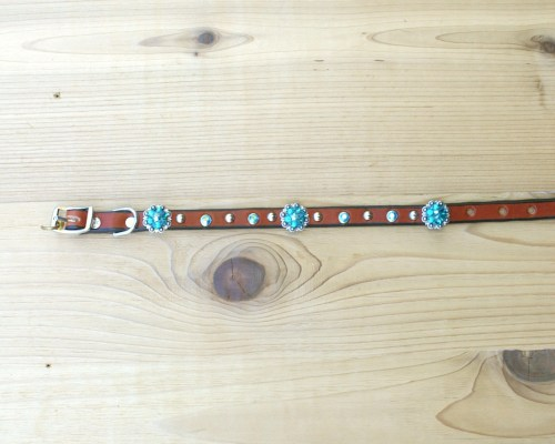 """1/2"""" wide x 12"""" length leather dog collar with Blue Zircon and Blue Zircon AB Swarovski berry conchos, rimsets, and domes"""