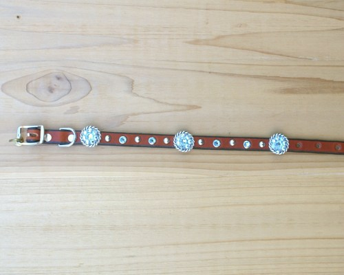 "1/2"" wide x 12"" length leather dog collar with Aquamarine and Aquamarine AB Swarovski rope conchos, rimsets, and domes"
