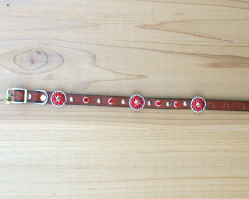 "1/2"" wide x 12"" length leather dog collar with Lt Siam and Lt Siam AB Swarovski rope conchos, rimsets, and domes"
