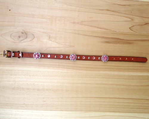 "1/2"" wide x 12"" length leather dog collar with Rose and Rose AB Swarovski berry conchos, rimsets, and domes"