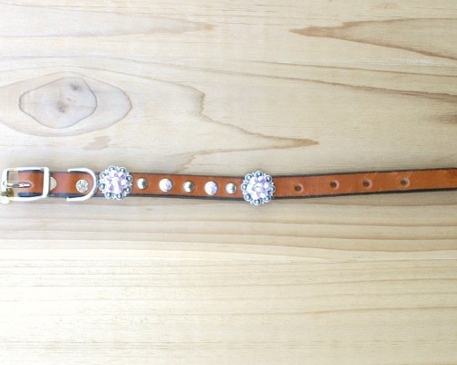 "1/2"" wide x 8"" length leather dog collar with Crystal AB Swarovski berry conchos, rimsets, and domes"
