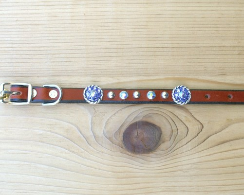 "1/2"" wide x 8"" length leather dog collar with Tanzanite Swarovski rope conchos, rimsets, and domes"