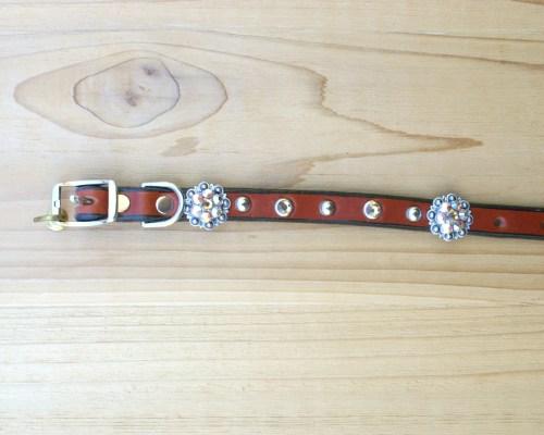 "1/2"" wide x 8"" length leather dog collar with Lt Colorado Topaz and Lt Colorado Topaz AB Swarovski berry conchos, rimsets, and domes"