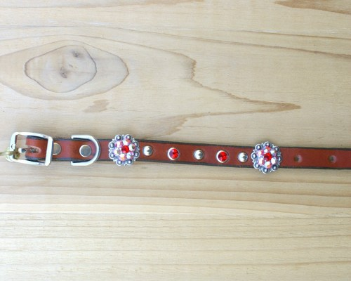 "1/2"" wide x 8"" length leather dog collar with Lt Siam and Lt Siam AB Swarovski berry conchos, rimsets, and domes"