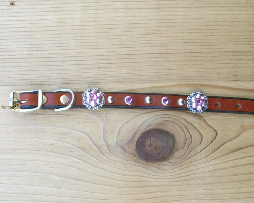 "1/2"" wide x 8"" length leather dog collar with Rose and Rose AB Swarovski berry conchos, rimsets, and domes"