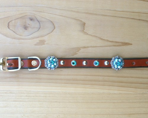 "1/2"" wide x 8"" length leather dog collar with Blue Zircon and Blue Zircon AB Swarovski berry conchos, rimsets, and domes"