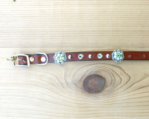 "1/2"" wide x 8"" length leather dog collar with Peridot and Peridot AB Swarovski berry conchos, rimsets, and domes"