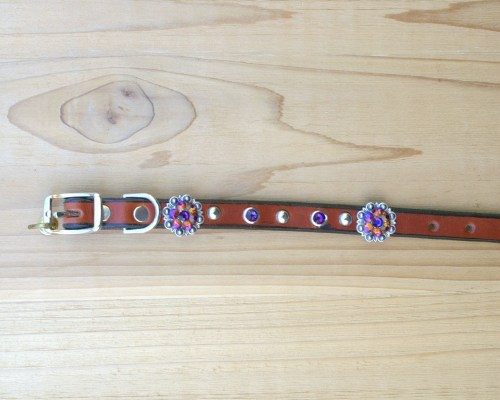 "1/2"" wide x 8"" length leather dog collar with Volcano Swarovski berry conchos, rimsets, and domes"