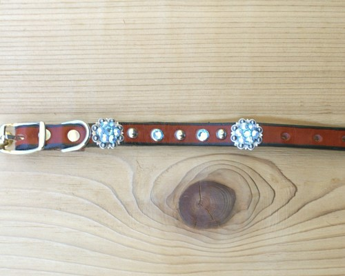 "1/2"" wide x 8"" length leather dog collar with Aquamarine and Aquamarine AB Swarovski berry conchos, rimsets, and domes"