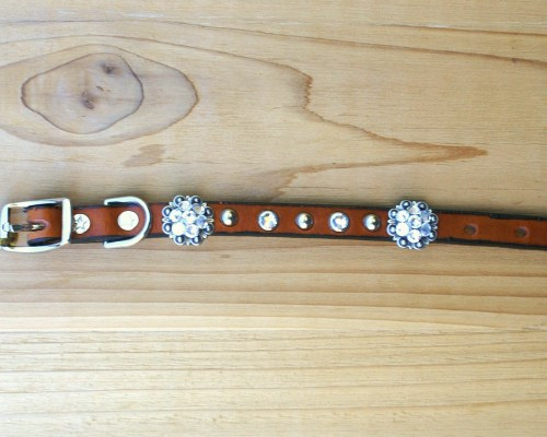 "1/2"" wide x 8"" length leather dog collar with Crystal Swarovski berry conchos, rimsets, and domes"