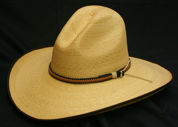 Fine palm golden gus hat with brown bound edge
