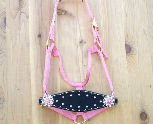 Medium nose pink halter with black hide and Lt Rose, Crystal AB, and Rose Swarovski rhinestones