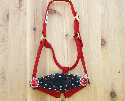 Medium nose red halter with dark brindle hide and Lt Siam & Lt Siam AB Swarovski rhinestones