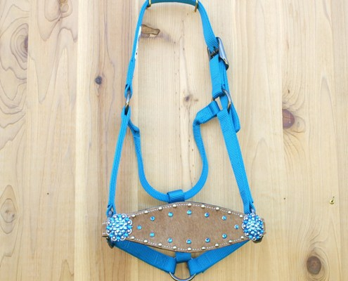 Medium nose hurricane blue halter with brown hide and Capri and Capri AB Swarovski rhinestones