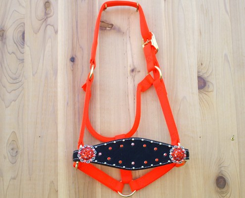 Medium nose safety orange halter with black hide and Hyacinth & Hyacinth AB Swarovski rhinestones