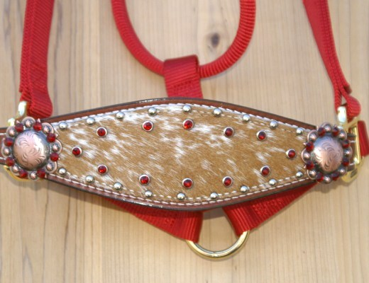 Medium nose red halter with brown and white speckles hide and siam swarovski rhinestones