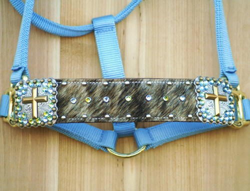 """2"""" Light Brindle Cowhide noseband halter with Cross Conchos decorated with Sahara and Lt Sapphire Swarovski rhinestones"""